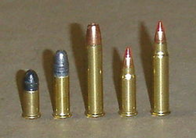 L to R - 22 Short, 22 LR, 22 WMR, 17 HM2, 17 HMR