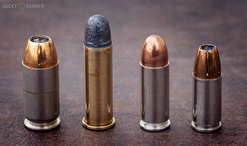 (Left to Right) .45 ACP, .38 Special, .38 Super, 9mm