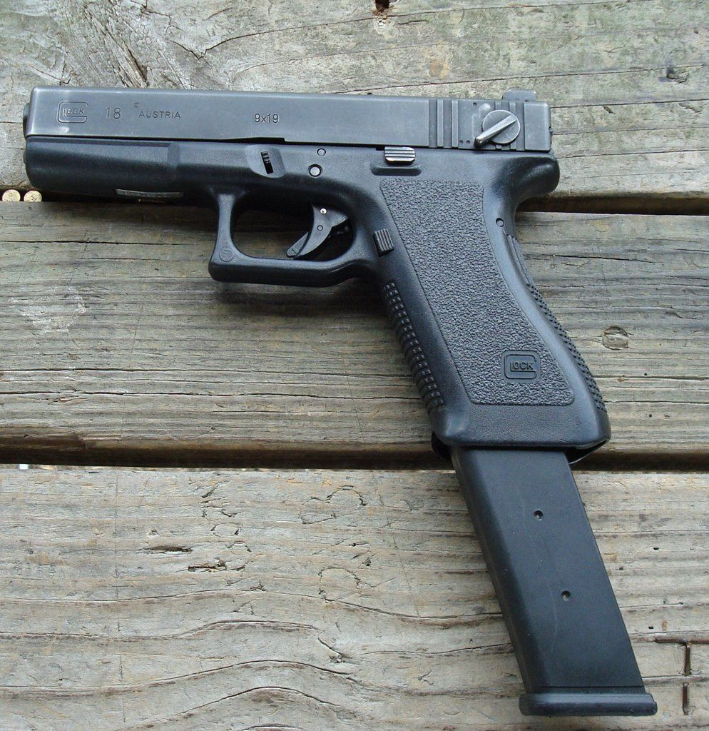 Glock 18 with extended clip