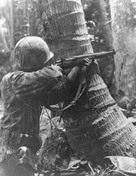 Marine with M1 Garand on Bougainville