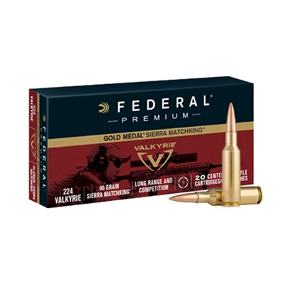 Federal Premium 90gr Gold Medal Sierra Matchking .224 Valkyrie Ammo