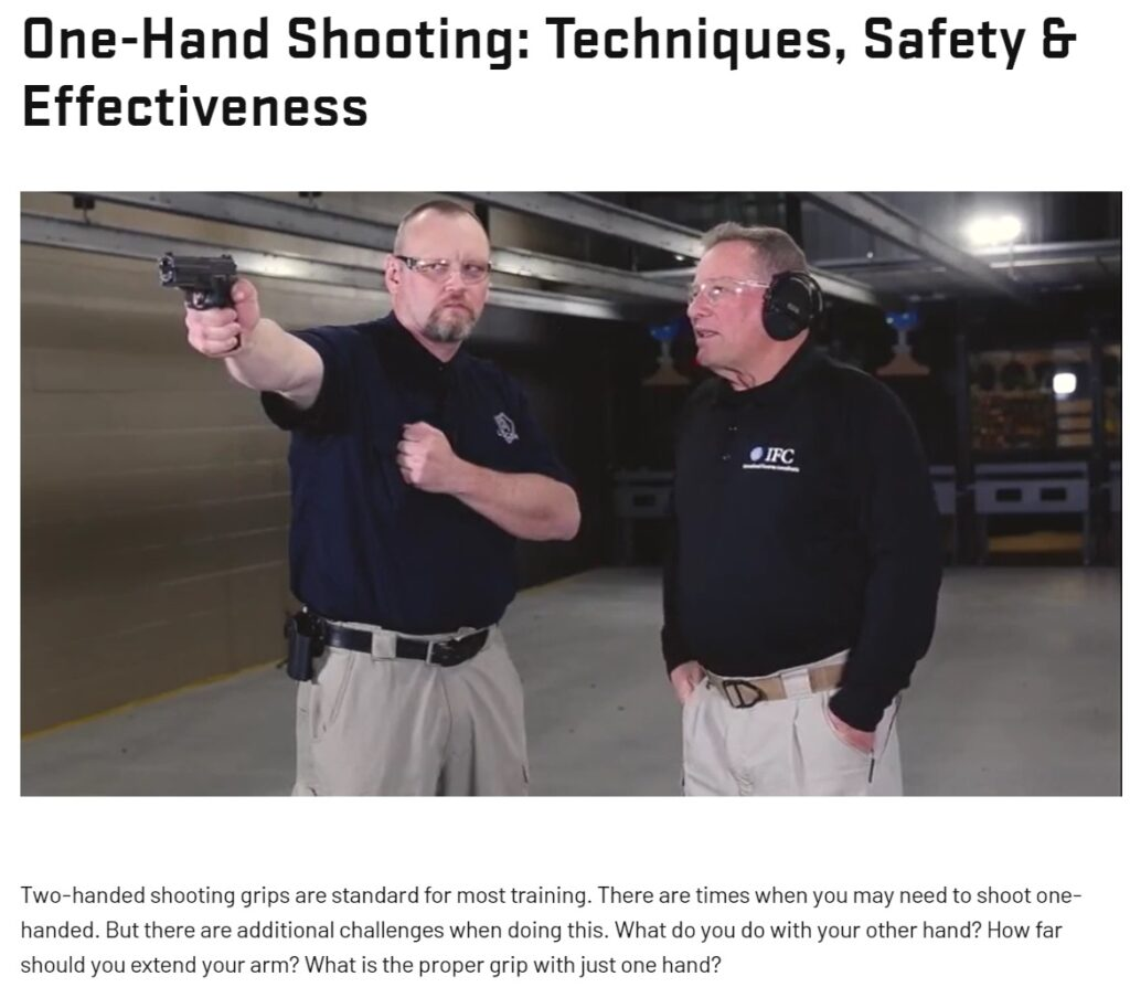 Practicing the art of one-handed shooting.; source: usconcealedcarry.com